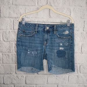 💙 American Eagle Patch Distressed Shorts SZ 4